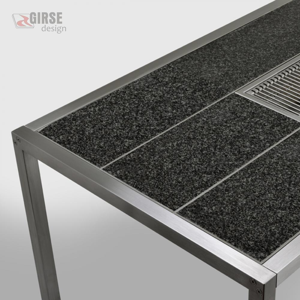Edelstahl esstisch magic table granit girse design for Esstisch mit granitplatte