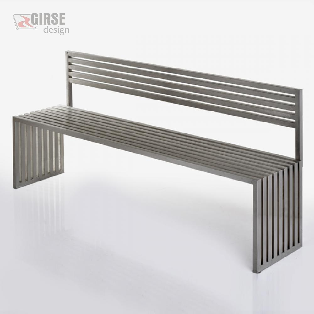 Girse-Design Edelstahl-Sitzbank, gross mit optionaler Rückenlehne